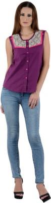 Visach Women's Printed Casual Purple Shirt