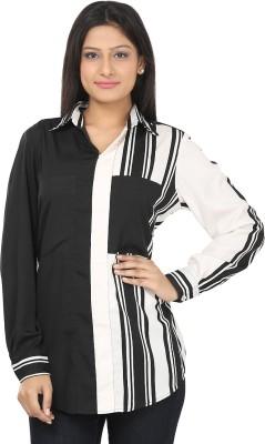 CraftZen Casual Full Sleeve Striped Women's Black, White Top