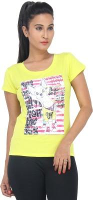 Color Thread Casual Short Sleeve Animal Print Women,s Yellow Top