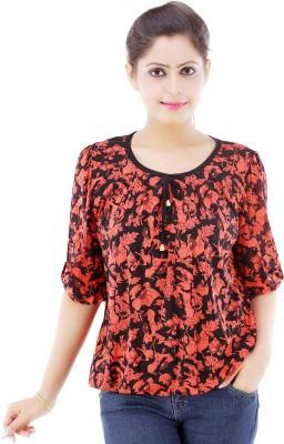 Divaz Fashion Casual 3/4 Sleeve Floral Print Women's Black Top