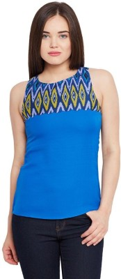 The Vanca Casual Sleeveless Solid Women's Blue Top at flipkart