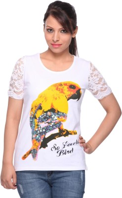 Strawberry Girl Casual Short Sleeve Printed Women,s White Top