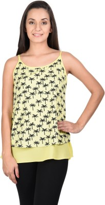 Whistle Casual Sleeveless Printed Women's Yellow Top