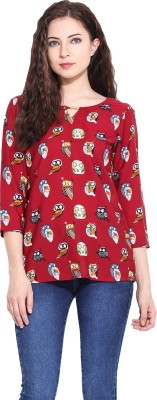 Paprika Casual 3/4 Sleeve Printed Women,s Multicolor Top