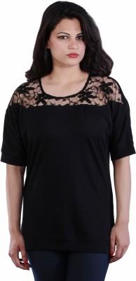 James Scot Formal Short Sleeve Solid Women's Black Top