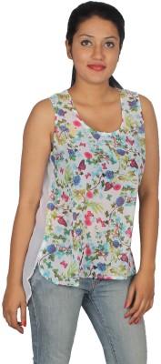 True Fashion Casual Sleeveless Animal Print Women's White Top