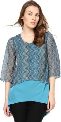 Abiti Bella Casual 3/4 Sleeve Geometric Print Women's Light Blue Top
