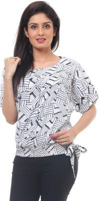 Lynda Party Balloon Sleeve Geometric Print Women's White Top