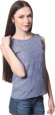 Shopcartz Casual, Festive, Party, Beach Wear Sleeveless Solid Women's Blue Top
