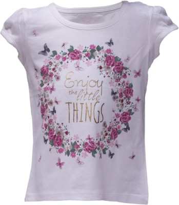 Tickles 4 u Casual Short Sleeve Floral Print Girl's White Top