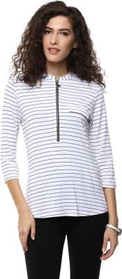 BLUE ISLE Casual 3/4 Sleeve Self Design Women's White Top