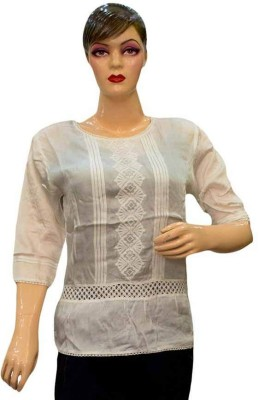 Acceptable Trading Co. Casual 3/4 Sleeve Printed Women's White Top