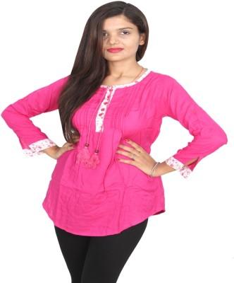 Vanya Enterprises Casual Full Sleeve Solid Women's Pink Top