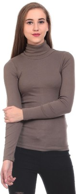 Saiints Casual Full Sleeve Solid Women's Brown Top