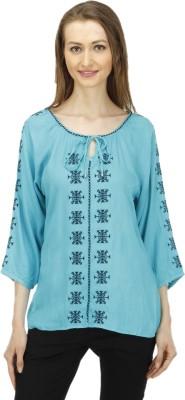 1OAK Casual 3/4 Sleeve Solid Women's Blue Top