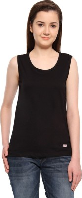 ADRO Casual Sleeveless Solid Women's Black Top