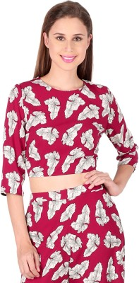 Lemon Chillo Casual 3/4 Sleeve Printed Women's Pink Top
