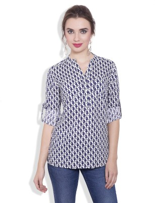 Pear Blossom Casual Roll-up Sleeve Animal Print Women's White, Blue Top