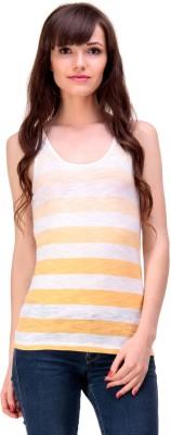 Ebry Casual Sleeveless Striped Women's Orange Top