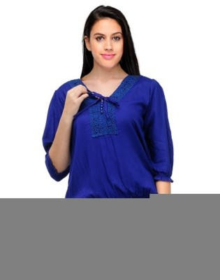 PINK SISLY Party 3/4 Sleeve Solid Women's Blue Top
