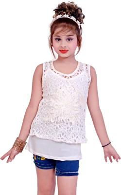 Blinkin Casual Sleeveless Self Design Girl's White Top
