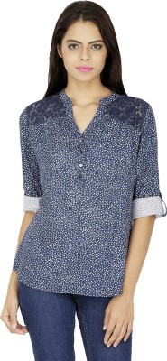 French Creations Casual Roll-up Sleeve Printed Women's Blue Top