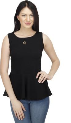 Colornext Casual Sleeveless Self Design Women,s Black Top