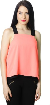 StyleToss Casual Sleeveless Solid Women's Pink Top