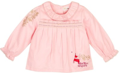 Mom & Me Casual Full Sleeve Solid Baby Girl's Pink Top