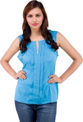 Centiaro Casual Sleeveless Solid Women's Blue Top