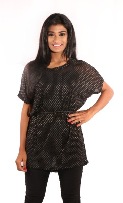 Showoff Casual Short Sleeve Embroidered Women's Black Top
