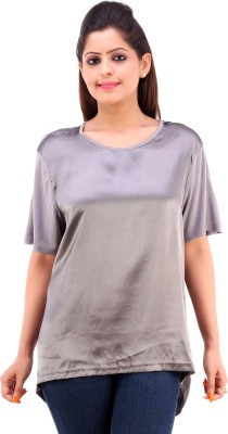 Pure Nautanki Casual Short Sleeve Solid Women's Silver Top