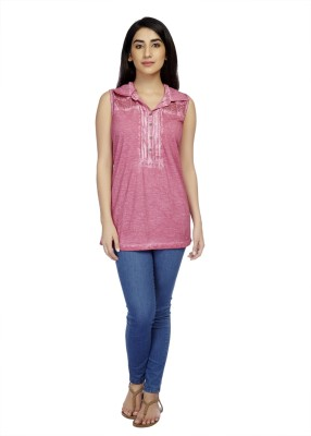 True Fashion Casual Sleeveless Solid Women's Pink Top