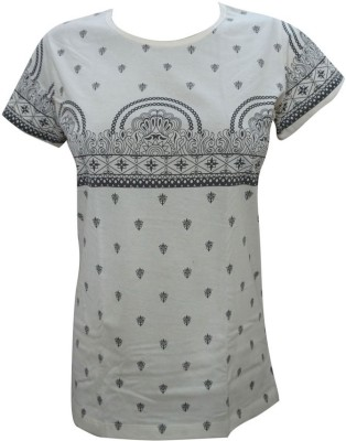 Indiatrendzs Casual Cap sleeve Printed Women's White Top