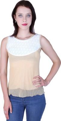 Zavi Casual Sleeveless Solid Women's Yellow, White Top