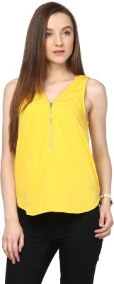 Hapuka Casual Sleeveless Solid Women's Yellow Top