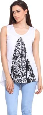 Mystree Casual Sleeveless Solid Women's White, Black Top