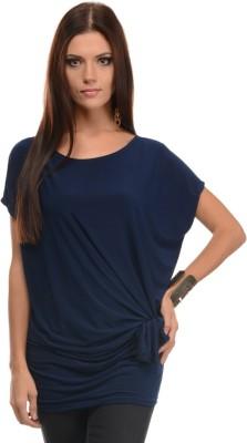 Mayra Casual Short Sleeve Solid Women's Dark Blue Top at flipkart