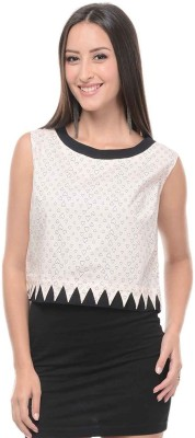 I Know Casual Sleeveless Printed Women,s White Top