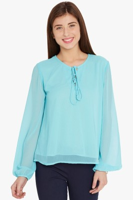 Anasazi Casual Full Sleeve Solid Women's Blue Top