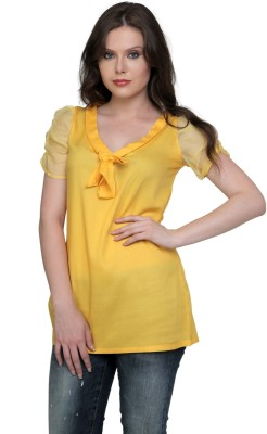 Cottinfab Casual Short Sleeve Solid Women's Yellow Top at flipkart