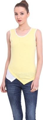 Ridress Casual Sleeveless Solid Women's Yellow, White Top