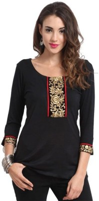 Shreewow Formal 3/4 Sleeve Solid Women's Black Top