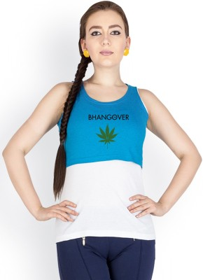 Campus Sutra Casual Sleeveless Printed Women's Blue Top