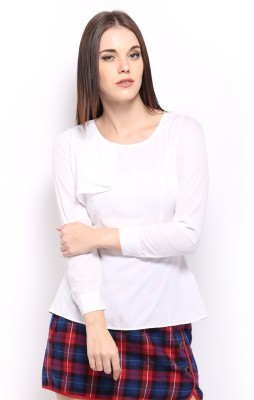 Mast & Harbour Casual Full Sleeve Solid Women's White Top at flipkart