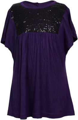 Soul Fairy Party Butterfly Sleeve Embellished Girl's Purple Top