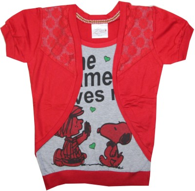 Kidsmasthi Casual Puff Sleeve Printed Girl's Red Top