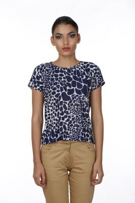 Baba Rancho Casual Short Sleeve Animal Print Women's Blue Top