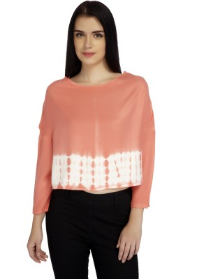 Mineral Casual 3/4 Sleeve Solid Women's Orange Top