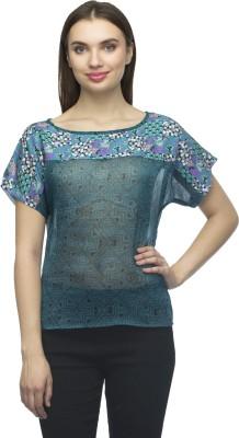 Bantry Casual Short Sleeve Self Design Women's Blue Top